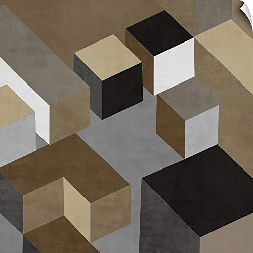 """CANVAS ON DEMAND Todd Simmions Wall Peel Wall Art Print Entitled Cubic in Neutral I 12""""x12"""""""
