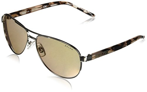 Ralph by Ralph Lauren Women's Metal Woman Sunglass Non-Polarized Iridium Aviator, SILVER, 59 mm ()