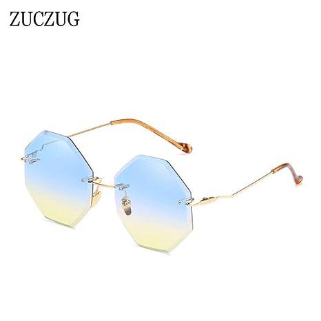 Yangjing-hl Gafas de Sol sin Marco Mujeres Diseñador de la ...