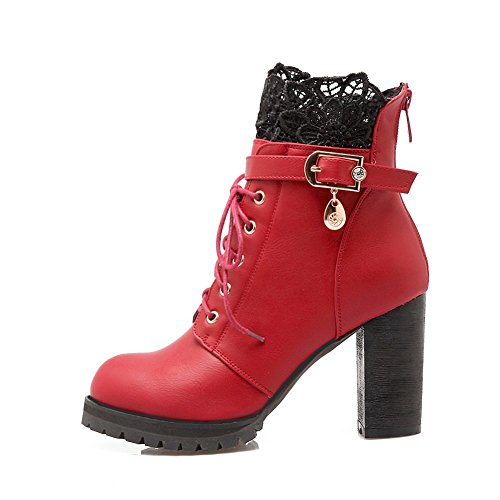 BalaMasa Womens Bandage Chunky Heels Metal Ornament Lace Imitated Leather Boots Red 10QH6tKEx