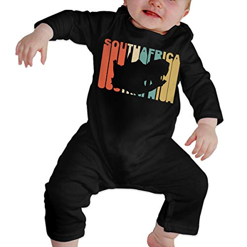 Long Sleeve Cotton Rompers for Unisex Baby, Cute Retro Style South Africa Silhouette Playsuit Black]()