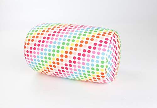 (Bookishbunny Micro Bead Bolster Tube Pillow Special Holiday Pattern - Squishy and Cool Fabric, Odorless Hypoallergenic 11.8 x 6 x 7 (Rainbow Dot Pattern))