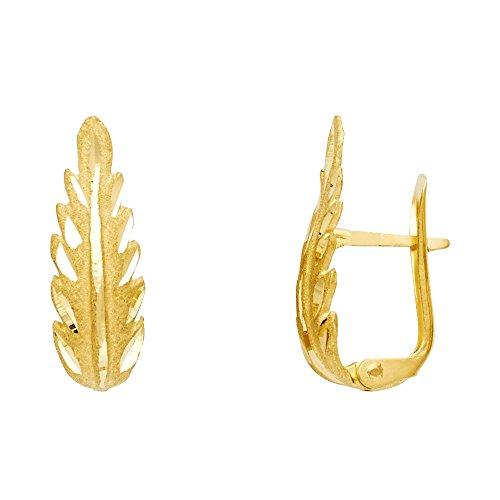 Leaf Huggie Earrings 14k Yellow Gold Clip On Closure U Shape Diamond Cut Polished Genuine 20 mm ()