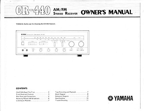 Yamaha CR-440 Receiver Owners Instruction Manual Reprint for sale  Delivered anywhere in USA