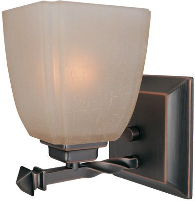 Lite Source LS-16287CP/BRZ Nita 1-Lite Wall Lamp, Copper Bronze with Woven Pattern Glass Shade