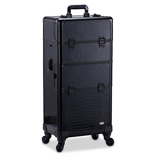 Professional Makeup Artist 2 in 1 Rolling Makeup Train Case Cosmetic Organizer with Easy Slide Extendable Storage Trays and Removable Trays by MUA