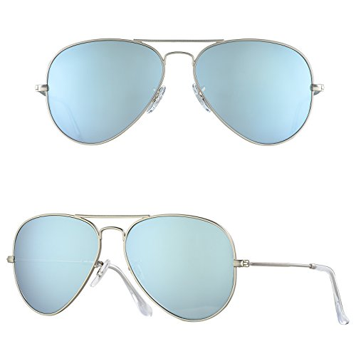 BNUS Corning natural glass New Aviator Unisex sunglasses Polarized Italy made (Frame: Matte Silver / Lens: Silver Flash, - Lenses Flash Silver