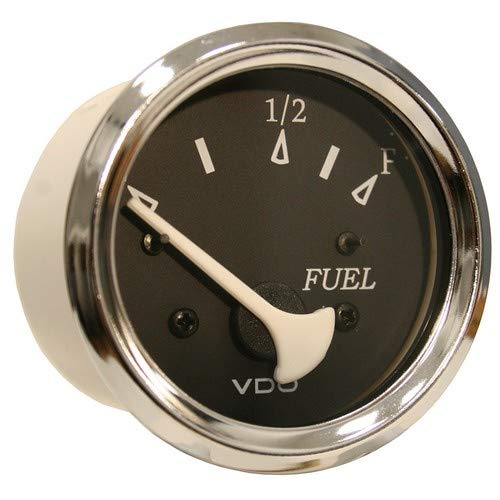 (Vdo Allentare Black Fuel Level Gauge - Use W/Marine 240-33 Ohm Fuel Senders - 12v - Chrome Bezel)