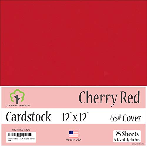 Cherry Red Cardstock - 12 x 12 inch - 65Lb Cover - 25 ()