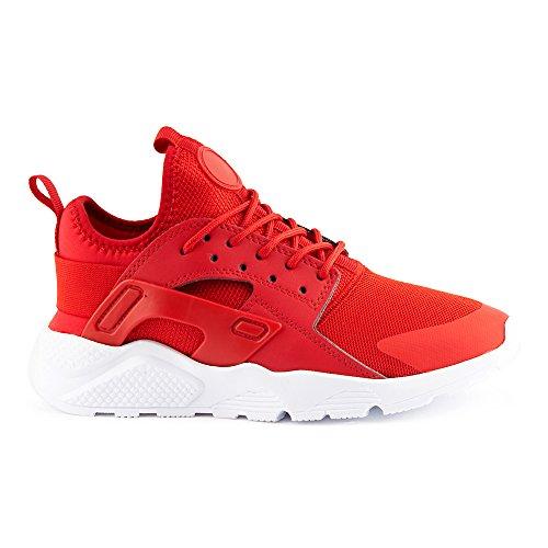 FiveSix Herren Damen Sneaker Sportschuhe Laufschuhe Freizeitschuhe Textilschuhe Camouflage Schnürschuhe Low-Top Unisex Schuhe Rot/Weiß-M