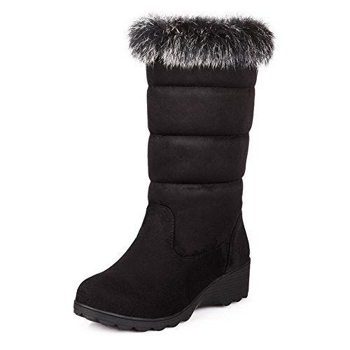 Short Black PU with Womens Solid 5 Blend Closed M 4 Frost Boots B Plush Toe AmoonyFashion Round US Materials Flatform 768ncYYqW