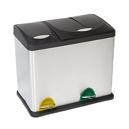 SVITA Mülleimer Müll-Trenner Tret-Eimer Recycle Abfall-Sammler Mülltonne Abfall-Tonne 26 Liter (18L + 8L) Schwarz Clic-Trade GmbH
