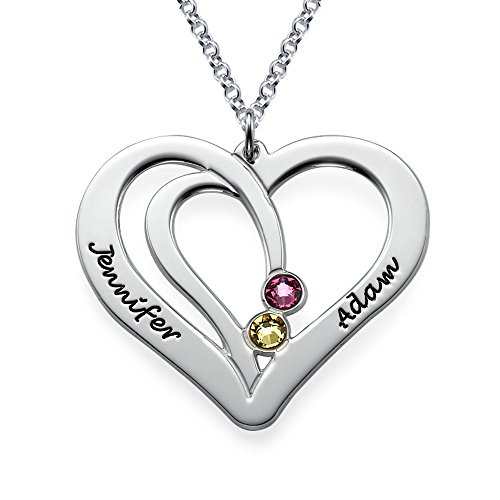 (Couples Engraved Birthstone Necklace in Sterling Silver Personalize with Any Name and Swarovski)