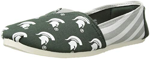 Forever Collectibles NCAA Michigan State Spartans Women's Canvas Stripe Shoes, Large (9-10), Green from Forever Collectibles