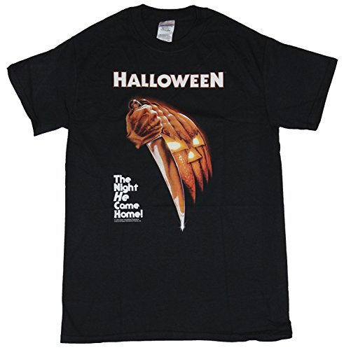 Halloween Movie Mens T-Shirt - The Night He Came Home Stabbing Image (Small) Black
