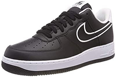 Nike AJ7280-001: Mens Air Force 1 '07 Leather Black/White Sneakers (8.5 D(M) US Men)
