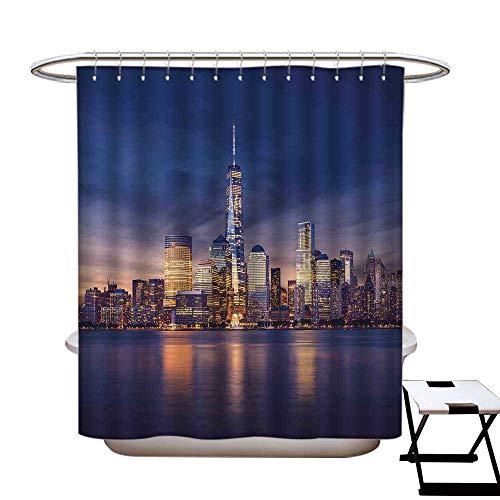 Stevenhome Cityscape - Cortina de ducha antibacteriana Kuala Lumpur Skyline Night KLCC con doble torre, monocromática de...