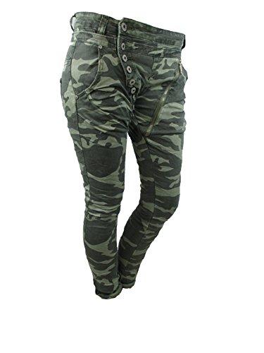 Baggy Boyfriend donna mozzaar green TARN jeans Harem Military Original aderenti Pantaloni Camuffamento pantaloni Bottoni fw8fq0U