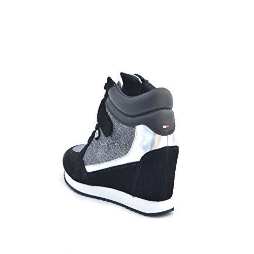 Donna Tommy Hilfiger sneakers alta fw56821691 991 con rialzo denim camoscio tessuto satinato argento