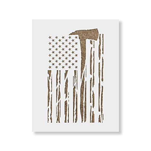 American Flag Firefighter Stencil Template for Walls and Crafts - Reusable Stencils for Painting in Small & Large Sizes
