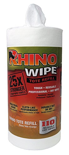 Rhino Wipe Refill Roll With 110 Strong Dry Wipes For Tote System
