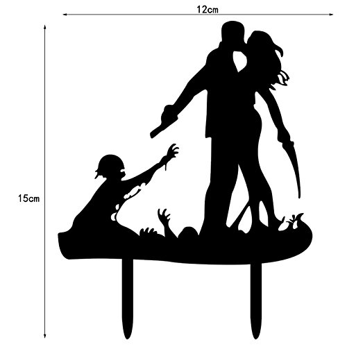 Zehui Acrylic Halloween Wedding Cake Topper Kissing Couple Decoration for Halloween Party Engagement Anniversary Cake (Black Cat Halloween Cakes)
