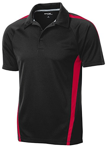 Sport-Tek ST685 PosiCharge Micro-Mesh Colorblock Polo - Black/Red - 4XL