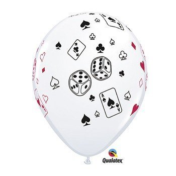 Casino Night Cards & Dice 11-Inch Latex Balloons, Qualatex 25 Per Pack by Creative Converting