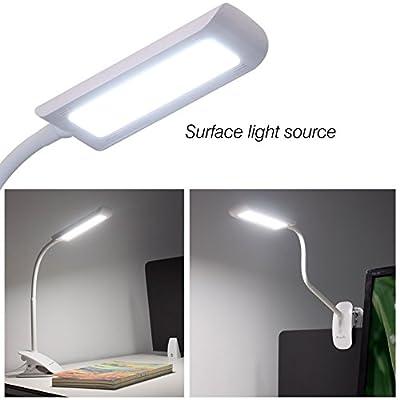 KEDSUM Dimmable Eye-Care LED Desk Lamp (7W,Flexible Gooseneck, 3-Level Dimmer, Touch-Sensitive Control Panel, Clip On Book Light ,White)