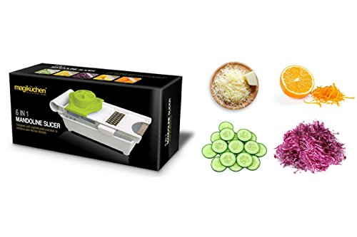 Magikuchen Multipurpose Manual 6-in-1 Vegetable Slicer, Grater, Cutter & Zester - comes with Stainless Steel Sharp Blades and Container - Perfect Multi-function Mandoline Chopper & Shredder!