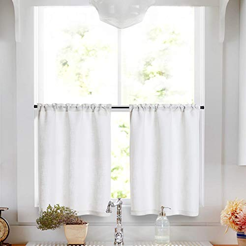(Linen Tier Curtains 24 inch Rod Pocket Kitchen Living Room Flax Rustic White Window Treatments 2 Panels)