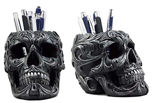 (Ebros Gift Set of 2 Tribal Tattoo Floral Skull Pen Holder Figurine 5.75
