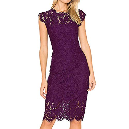 (Fshinging Women Sexy Lace Hollow Out Dress Solid Color Sleeveless Bodycon Dress Plue Size(Purple,M))