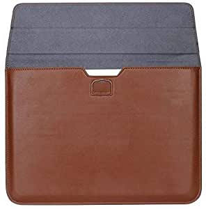 For Apple Macbook Retina 12 Inch Leather Case Cover Wallet Sleeve Stand Card Slots Anti scratch/Brown Color