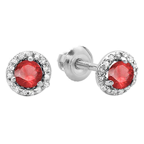 - Dazzlingrock Collection 0.50 Carat (ctw) 14K Round Ruby & White Diamond Ladies Halo Style Stud Earrings 1/2 CT, White Gold