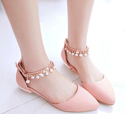 verano de de boca planos los rosa con baja cabecera zapatos de sandalias cuentas sandalias femeninas xSIwTTna