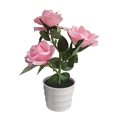 (Penfly LED Wireless Solar Power Decorative Artificial Rose Flower Pot Plant Landscape Light Night Lamp Outdoor Garden Yard Pathway Lawn Grassland Pink)