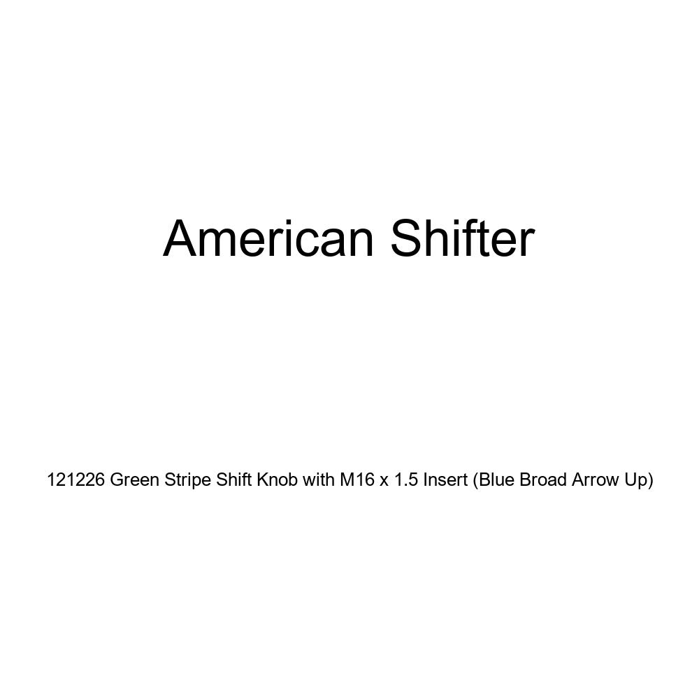 American Shifter 121226 Green Stripe Shift Knob with M16 x 1.5 Insert Blue Broad Arrow Up