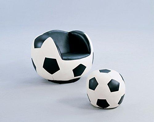 Benzara BM155367 All Star Soccer Ottoman, Chair Set, Black/White by Benzara