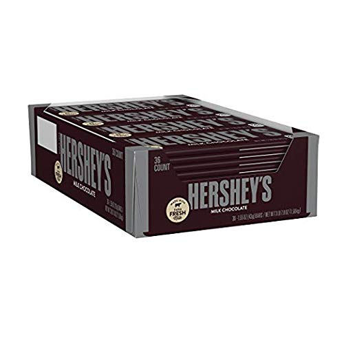 HERSHEY'S Milk Chocolate Candy Bars, 1.55-oz. Bars, 36 Count (Wrapped Chocolate Custom)