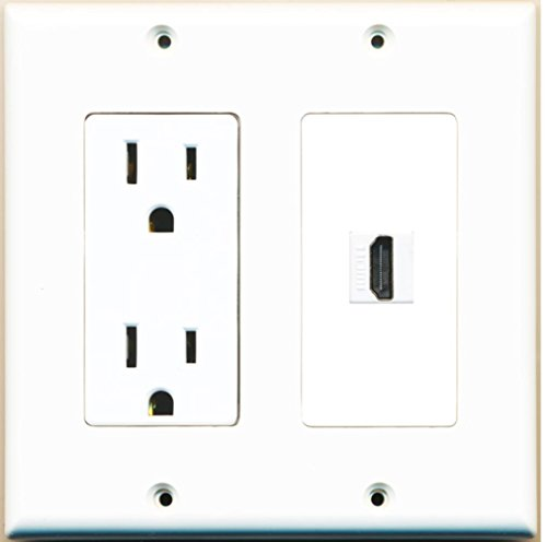 RiteAV - 15 Amp Power Outlet and 1 Port HDMI Decora Type Wall Plate - - Wall Hdmi Outlet
