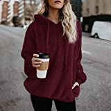 COOKI Women Fall Clothing Long Sleeve Hooded Fleece Sweatshirt Warm Fuzzy Zip Up Hoodie Pullover Tops