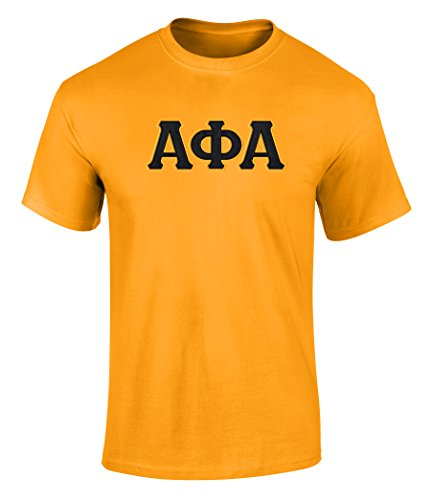 Fashion Greek Alpha Phi Alpha Twill Letter Tee Gold 1 Small