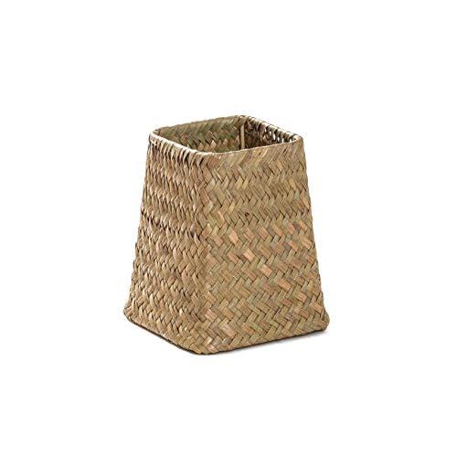 Handmade Bamboo Storage Baskets Foldable Laundry Straw Patchwork Wicker Rattan Seagrass Belly Garden Flower Pot Planter Basket,As Shown1