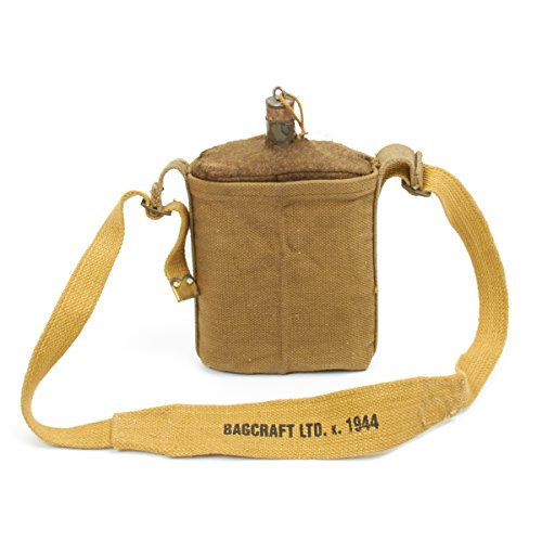 Original British WWII P-37 Water Bottle Set with Desert Carry Strap Dated 1944