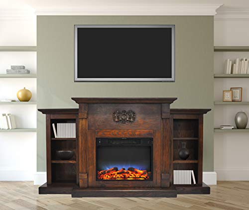 Cambridge CAM7233-1WALLED Sanoma 72 In. Electric Fireplace in Walnut with Built-in Bookshelves and a Multi-Color LED Flame Display