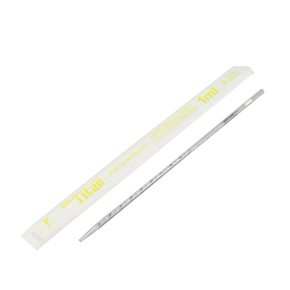 1mL Capacity Standard Tip Yellow Striped Adamas-Beta Serological Pipette Individually Wrapped Sterile Case of 100