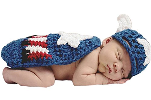 Captain Costumes Baby America (Pinbo Newborn Baby Photography Prop Crochet Knitted Captain America Hat)