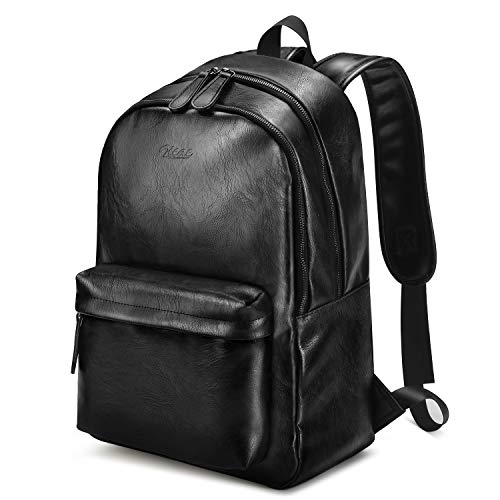 PU Leather Backpack for Men, Zicac 15.6 inch Waterproof School College Laptop Backpack Travel Hiking Casual Daypack Rucksack Double Laptop Compartment