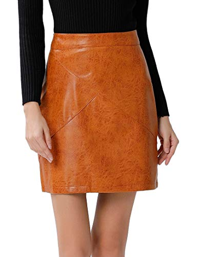 (GUANYY Women's Faux Leather Vintage High Waist Classic Slim Mini Pencil Skirt(Wheat,X-Large) )